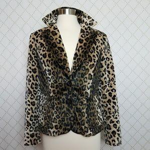 INC Plush Velveteen Animal Print Jacket